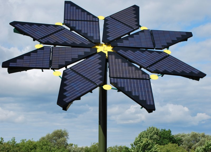 ... created a sunflower sculpture with ertex-solar photovoltaic modules
